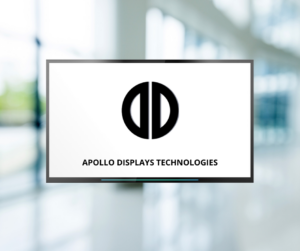 Display screen with Apollo Displays Technologies logo on it