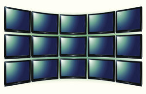 Video Wall, Final illustration is using adobe effect bulge to curve the TV